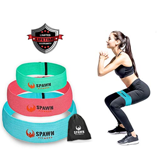 SPAWN Fitness Resistance Bands for Legs Butt Glute Training Fit Loop Cotton Latex for Men and Women - Set of 3 (Pink Blue Mint Green)
