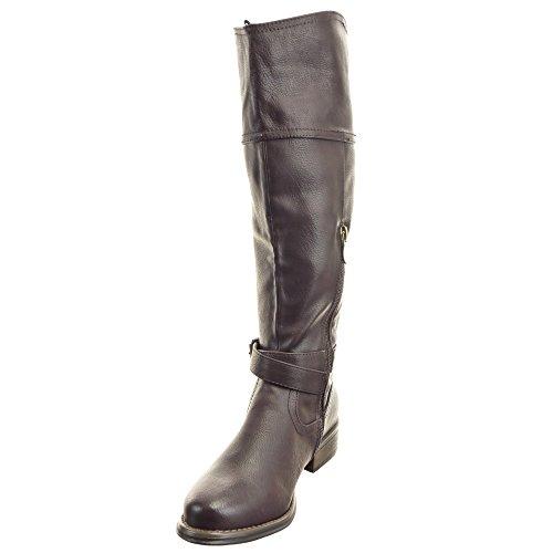 Sopily - damen Mode Schuhe Stiefel Reitstiefel - Kavalier Western Santiags - Cowboy Schleife metallisch Schuhabsatz Blockabsatz - Braun