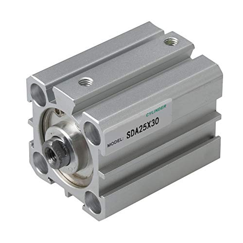 BQLZR 4x4x5.6cm Silver Aluminum Alloy Pneumatic Air Cylinder SDA25x30 25mm Bore 30mm Stroke for Automatic Control System ()