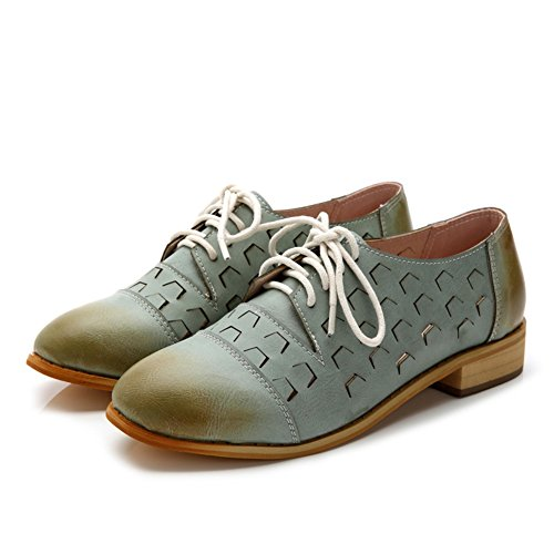 Fashion T Blue Oxfords Casual Lace Women's JULY up Shoes Comfortable Heel Shoes Openwork Low xOrwOEA