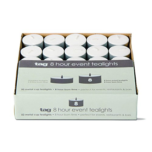 tag - Event Candles, Perfect for Adding a Little Light to Any Room, White (0.88'' x 1.5'' Dia.) by tag
