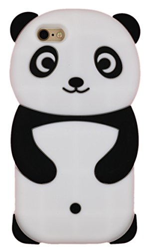 Iphone 6s Case, Iphone 6 4.7 Inch Case, Cute Cartoon 3D Adorable Lovely Creative Panda Soft Silicone Gel Rubber Protective Cover Case for Iphone 6 / 6s ( Black Panda )
