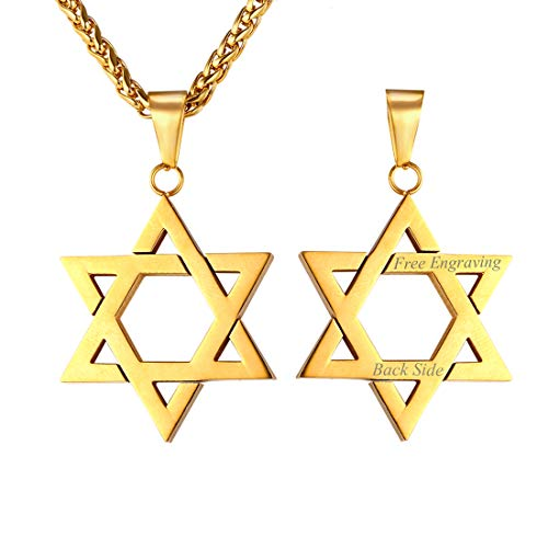 U7 Customized Text Engrave 18K Gold Plated Star of David Necklace Pendant & Chain 22
