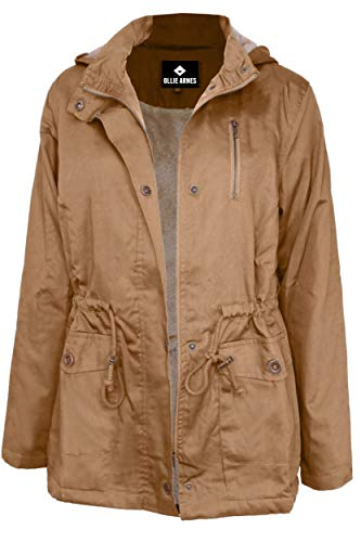 OLLIE ARNES Women's Quilted or Inner Fur Lined Sherpa Anorak Down Parka Jacket J85_Camel XL