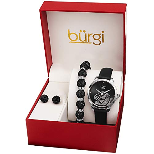 Burgi Watch, Bracelet & Earrings Gift Set - Accented Rose Cut-Out Women's Watch with Diamond Marker and Crystal Beaded Matching Bracelet and Earrings - BUR244SSB (Silver/Black)