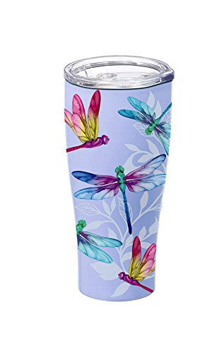 Cypress Home Dragonfly Stainless Steel Hot Beverage Travel Cup, 17 - Mug Travel Dragonfly
