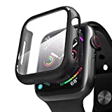 pzoz Compatible Apple Watch Series 4 Case with Screen Protector 40mm Accessories Slim Guard Thin Bumper Full Coverage Matte Hard Cover Defense Edge for Women Men New Gen GPS iWatch (Black)