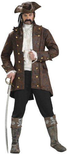 Forum Novelties Men's Buccaneer Jacket Pirate Costume, Brown, Standard
