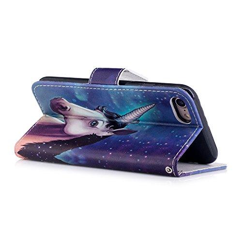 iPhone 8 Hülle,Stern-Tier PU Leder Wallet Handytasche Flip Etui Schutz Tasche mit Integrierten Card Kartensteckplätzen und Ständer Funktion Für Apple iPhone 8 + Zwei Geschenk