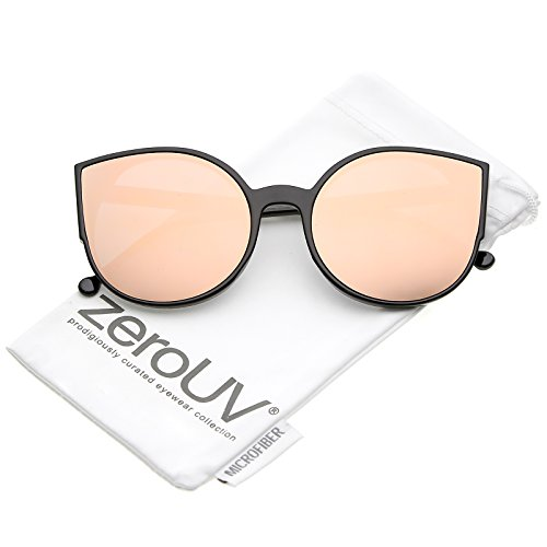 zeroUV - Women's Slim Arms Round Colored Mirror Flat Lens Cat Eye Sunglasses 56mm (Black / Pink - 56 Sunglasses