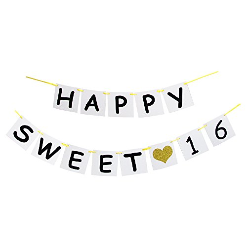Happy Sweet 16 Birthday Banner - Gold Glitter Heart for 16 Years Birthday Party Decoration Bunting White and Black