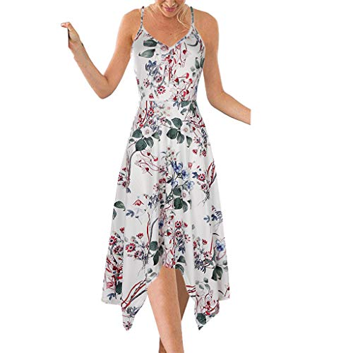 PEIZH Casual Women's Sleeveless Dress Backless Printed Sexy Halter Sling Knee Length Dress Hem Irregular ()