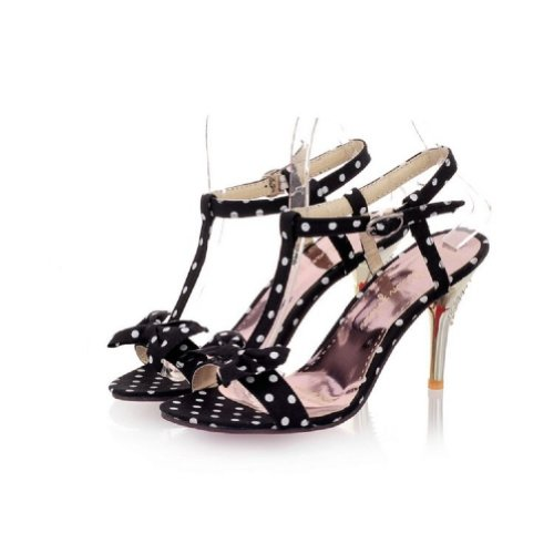 Dot Foot Toe Fashion Open Polka High Sandals Heel Black Womens Charm BZtqx8t