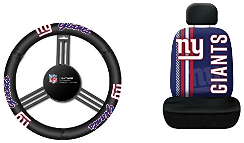 Fremont Die NFL New York Giants Rally Seat Cover with Leather Steering Wheel Cover, One Size, (Giants Car Seat Cover)