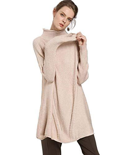 FINCATI Women's Sweater Pullover Turtleneck Cashmere Wool Soft Cozy Ribbed Elbow Oversized Long Sweaters Tunic (A-Beige, One Size) Cashmere Long Sleeve Tunic