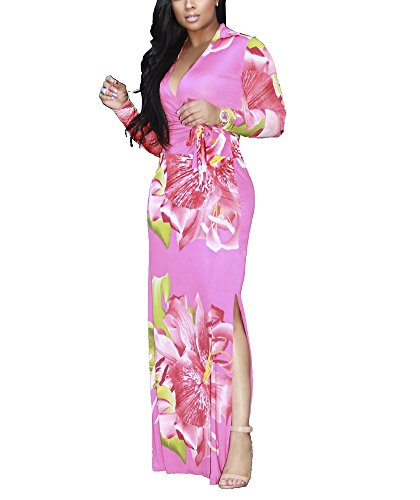 LightlyKiss Womens Casual Sexy Long Sleeves Floral Printed Loose Maxi Party Dress Floor Length Outfits Belt