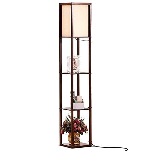Brightech Maxwell - LED Shelf Floor Lamp - Modern Standing Light for Living Rooms and Bedrooms - Asian Wooden Frame with Open BoxDisplay Shelves - Havana ()