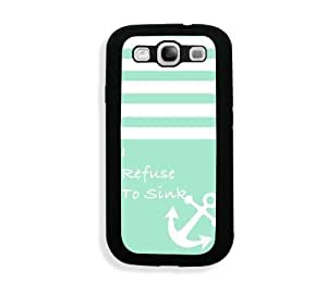 Galaxy S3 Case - Galaxy S III Case -   Turquoise Solid Stripes White Anchor Refuse To Sink Samsung Galaxy i9300 Case Snap On Case