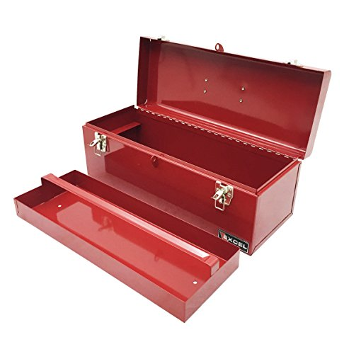 Excel TB139-Red 19-Inch Portable Steel Tool Box, Red by Excel