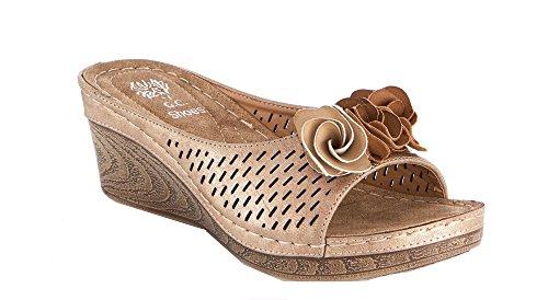- Gc Shoes Women's Sydney Rosette Slide Wedge Sandals (10, Gold)