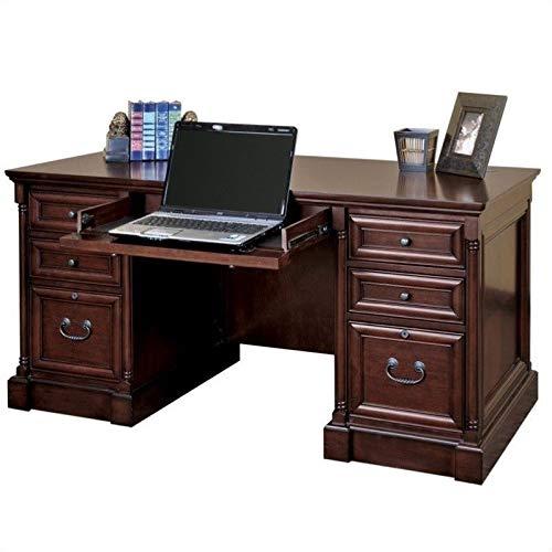 Martin Furniture Mount View Efficiency Double Pedestal Desk - Fully - Executive Wood Veneer Cherry