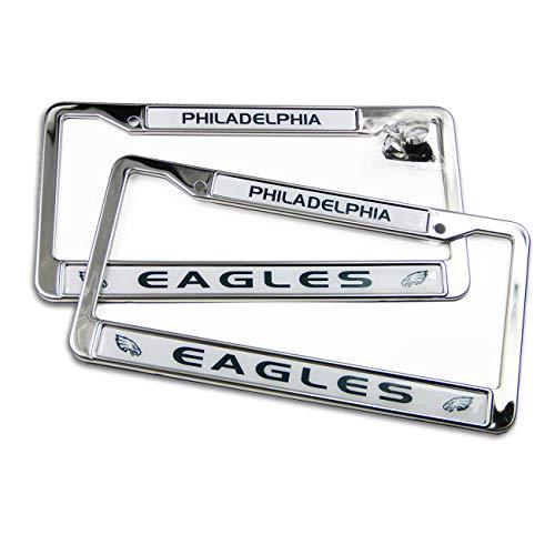 MT-Sports store NFL Car 2 Pcs Licenses Plate Glitter Bling Chrome Plate License Plate Frames(Philadelphia Eagles(LP)