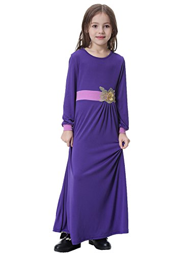 GladThink-Muslim-Girls-Long-Sleeve-Crew-Neck-Dress