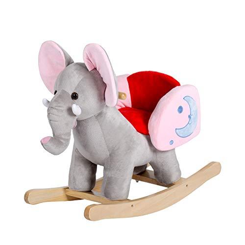 Peach Tree Rocking Horse Elephant Plush Rocker Horse Kids Ride On Toy Child Rocking Animal with 32 Nursery Rhymes, Grey