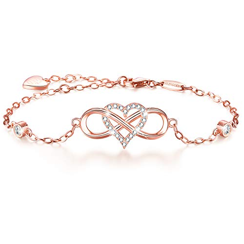 BlingGem Womens 925 Sterling Silver Infinity Love Bracelet with Cubic Zirconia Diamond Charm Heart Fine Jewelry Gift for Christmas Plated 18K Rose Gold
