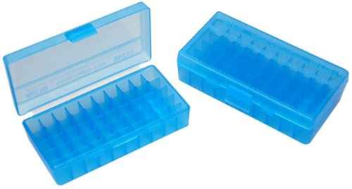 UPC 026057107240, MTM 50 Round Flip-Top Ammo Box 38/357 Cal (Clear Blue)