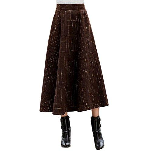 Hot Drasawee High Waist A-Line Flared Long Plaid Skirt Winter For Women for sale