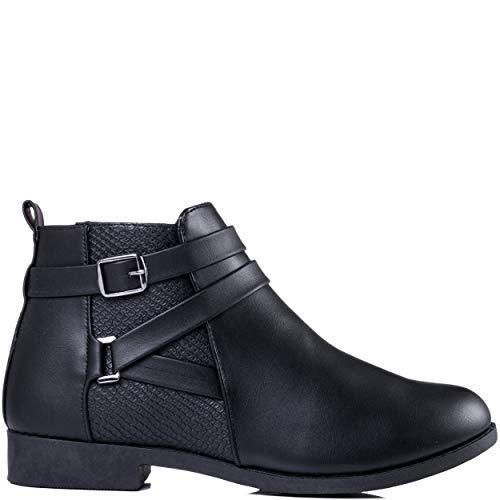 Little Bottines Noir Plates Spylovebuy Similicuir Pretty Femmes Chaussures Tirette 5xBwwHgnP