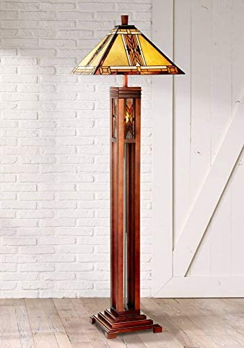 Mission Floor Lamp with Nightlight Walnut Wood Column Stained Glass Shade for Living Room Reading Bedroom – Robert Louis Tiffany