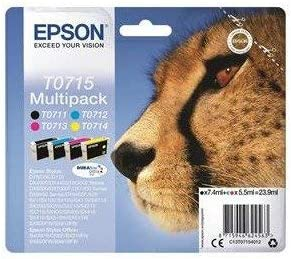 Epson T0715 Cartucho de tinta DURABrite Cheetah Cyan/Magenta/Amarillo/Negro Ref C13T07154010 [Pack de 4]: Amazon.es: Oficina y papelería