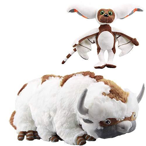 "Avatar The Last Airbender 18″(50cm) Appa & 11"" (28cm) Momo Plush Set of 2 pcs for Kids Christmas New Year Gift Birthday Gift"