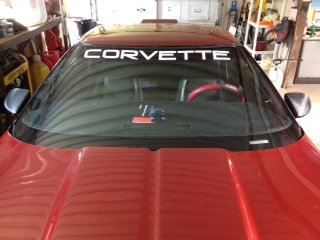- Chevy Corvette White Windshield Banner Decal