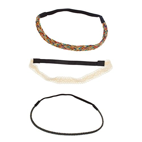 Lux Accessories Lace Fabric Woven Rainbow Braided Stretch Headband Set Head Band (3 Pc)