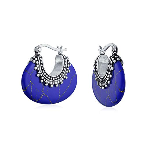 Bali Style Tribal Blue Lapis Crescent Hoop Earrings For Women Oxidized Caviar Bead 925 Sterling Silver