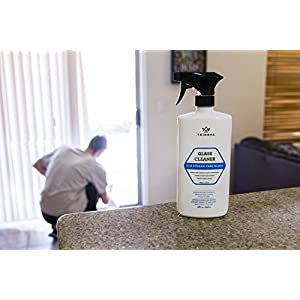 Premium Glass & Mirror Streak Free Cleaner- Best For Windows, Mirrors, Windshields - Wash Away Dirt, Grease, Smudges, Sap, Bugs & More - Indoor & Outdoor - 18 OZ - TriNova