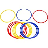 """Trademark Innovations Speed and Agility Training Rings with Carrycase (Set of 12), 16"""" Diameter, Multicolor"""