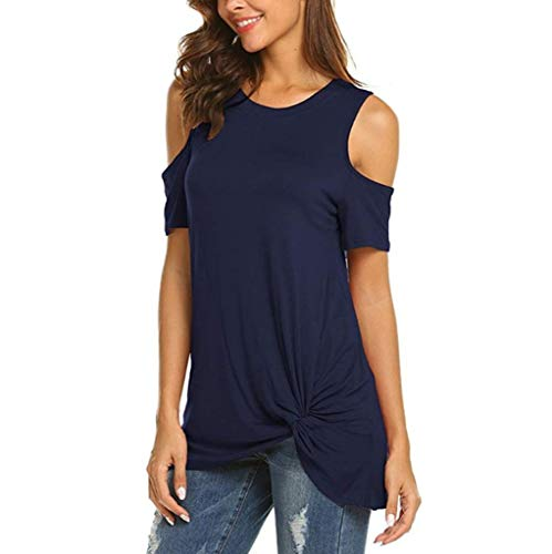 IAMUP Ladies Casual Short Sleeve Tops Strapless Solid Elegant T-Shirt Loose Soild O Neck Top Blouse Navy by IAMUP (Image #2)