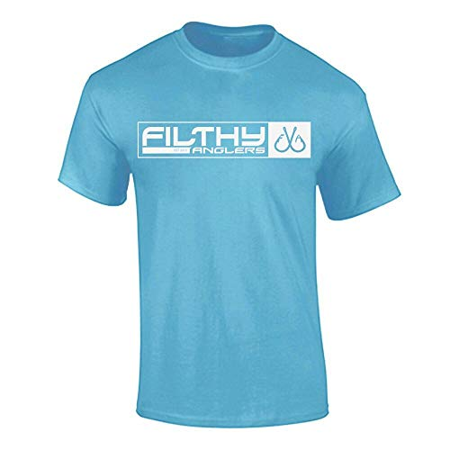 (Filthy Anglers Mens Fishing T Shirt with Military Front Style Print American Flag on Sleeve (X-Large, Light Blue) )
