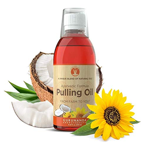 GuruNanda Oil Pulling Oil, Natural Mouthwash, Ayurvedic Blend of Coconut, Sesame, Sunflower, & Peppermint Oils. A Refreshing Oral Rinse - Helps Bad Breath, Healthy Gums + Whitens Teeth. (8.45 fl. oz). (Benefits Of Oil Pulling With Sesame Oil)