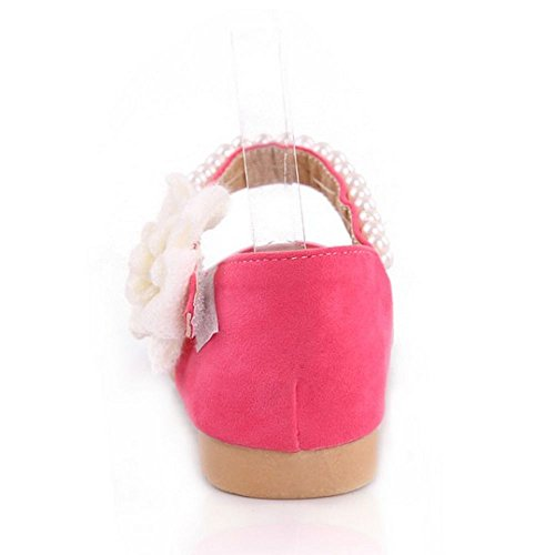 Flower Sweet Flats Shoes Sandals LongFengMa Velcro beads Pink A8qwxT4