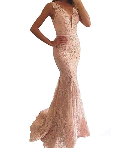LastBridal-Women-Sexy-Lace-V-Neck-Mermaid-Prom-Evening-Dresses-Formal-Party-Gowns-Long-LB0044-US-14-Pink