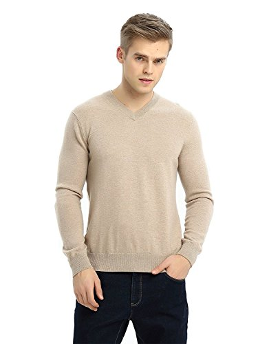 - MIUK 2017 New Men's 100% Cashmere Basic Slim Sweater V Neck Long Sleeve Pullovers Camel S