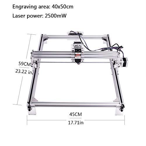 MYSWEETY DIY CNC Laser Engraver Kits, 40x50cm 2500mW Wood Carving Engraving Cutting Machine Desktop Printer Logo Picture Marking, 2 Axis by MYSWEETY (Image #1)