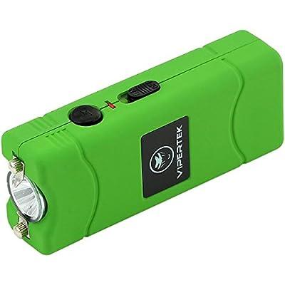 VIPERTEK VTS-881 - 38,000,000 V Micro Stun Gun - Rechargeable with LED Flashlight, Green