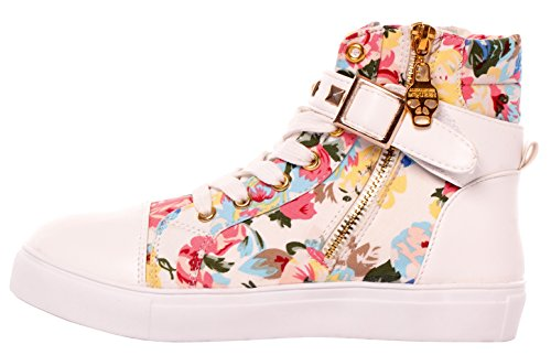 Serene High Top Sneakers For Women and Girls With Lace-up In Canvas and Leather Floralpink OZl7xJi
