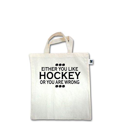 Eishockey - Like Hockey - Unisize - Natural - XT500 - Fairtrade Henkeltasche / Jutebeutel mit kurzen Henkeln aus Bio-Baumwolle